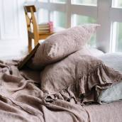 ROSE BROWN Pure Linen pillow shams with ruffle