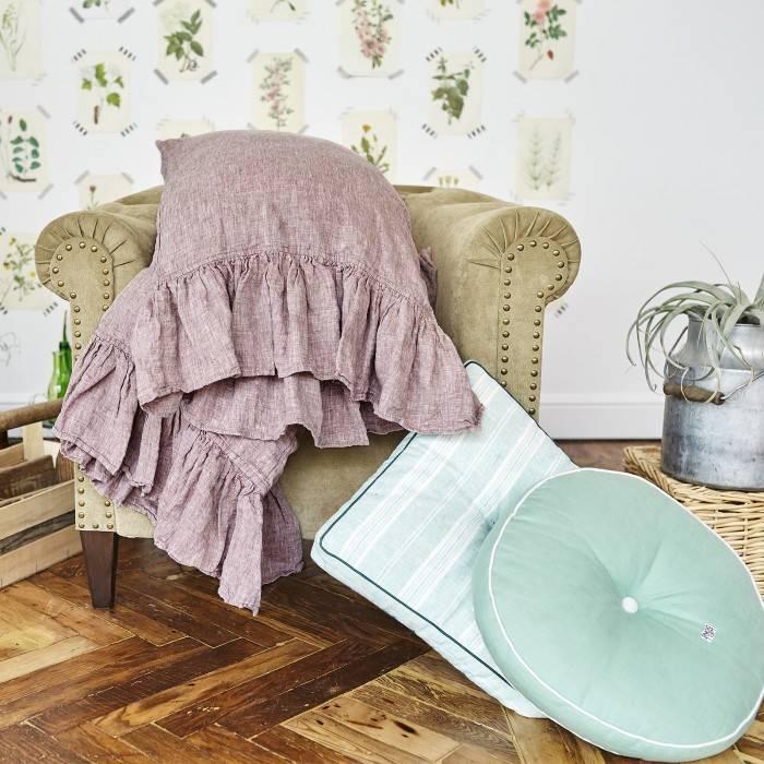 ROSE BROWN Linen pillow sham with ruffle