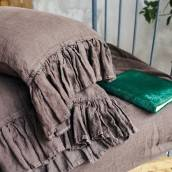 CHOCOLATE BROWN Pure Linen sheet set with ruffle