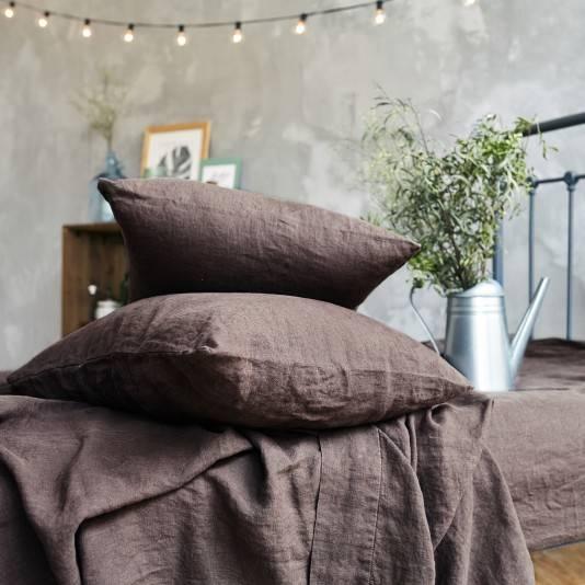 CHOCOLATE BROWN Linen pillow slips