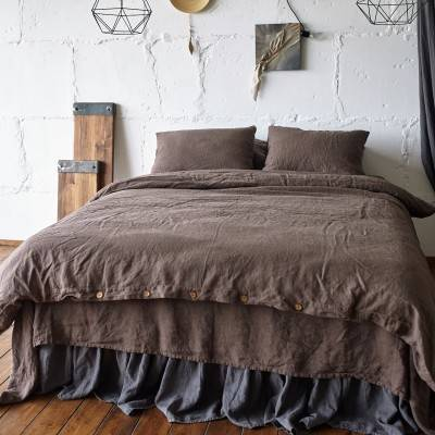 Linen Duvet Cover Chocolate Brown