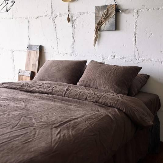 CHOCOLATE BROWN Linen pillowcase