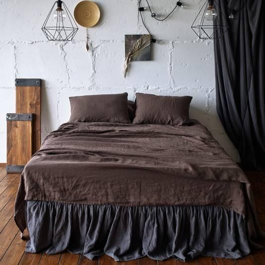 CHOCOLATE BROWN Linen sheet set slip