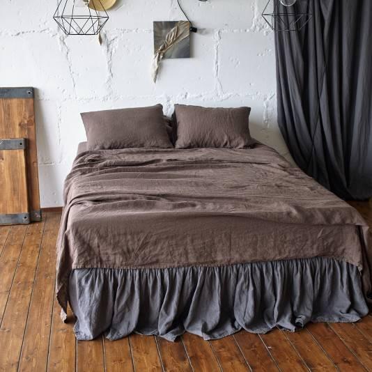 CHOCOLATE BROWN Linen flat sheet