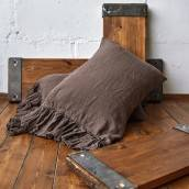 CHOCOLATE BROWN 100 Percent Flax Linen sheet set with ruffle