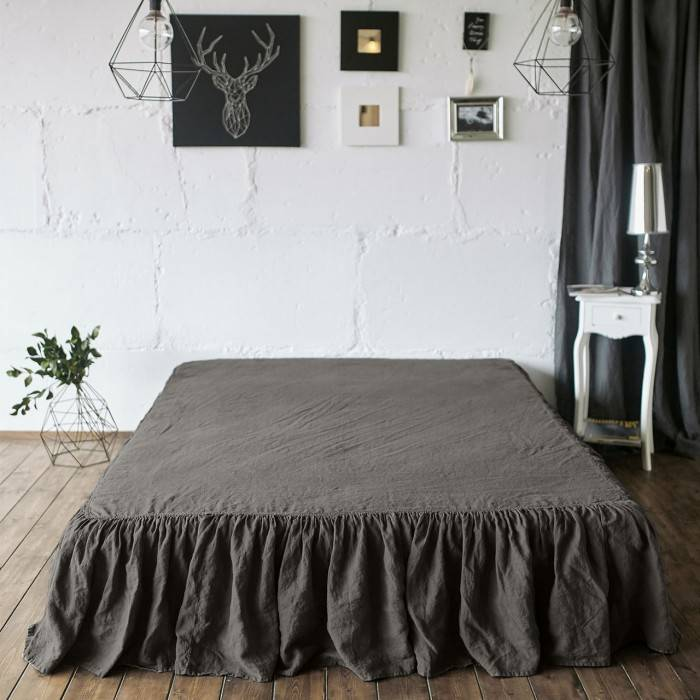 CHOCOLATE BROWN Linen bed skirt