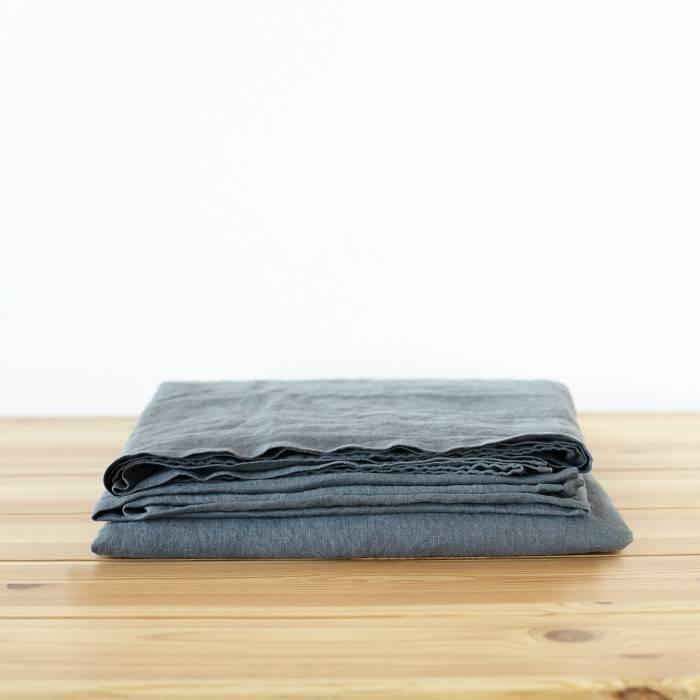 CHARCOAL GRAY Linen flat sheet