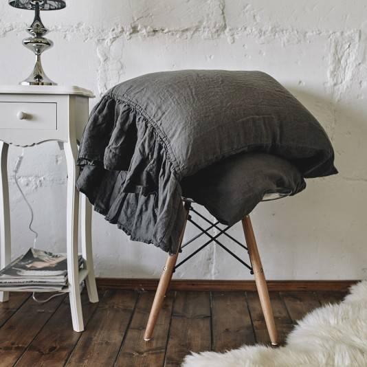 CHARCOAL GRAY Linen pillow sham with ruffle