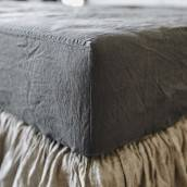 CHARCOAL GRAY Pure Linen fitted sheet