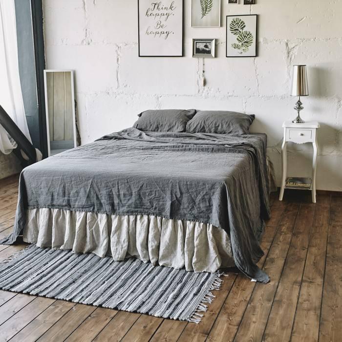 CHARCOAL GRAY Linen sheet set slip