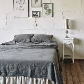 CHARCOAL GRAY Pure Linen flat sheet