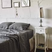CHARCOAL GRAY 100 Percent Flax Linen sheet set slip