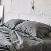 Linen sheet set slip in beautiful CHARCOAL GRAY