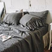 CHARCOAL GRAY 100 Percent Flax Linen pillow sham with ruffle