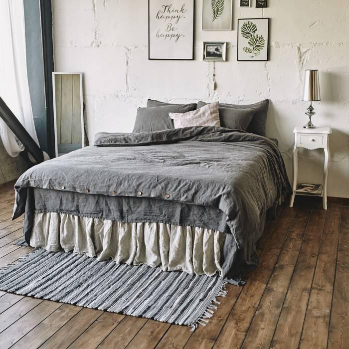 CHARCOAL GRAY Linen duvet cover