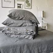 Linen duvet cover in beautiful CHARCOAL GRAY
