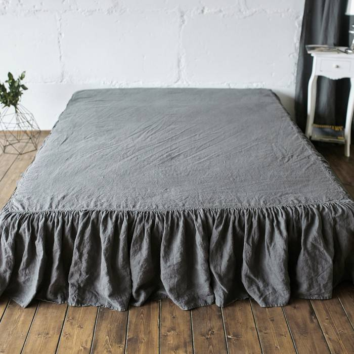 LINEN BED SKIRT ruffled
