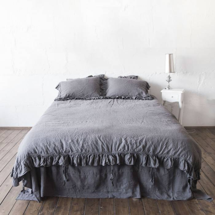 CHARCOAL GRAY Linen duvet cover 3 ruffles