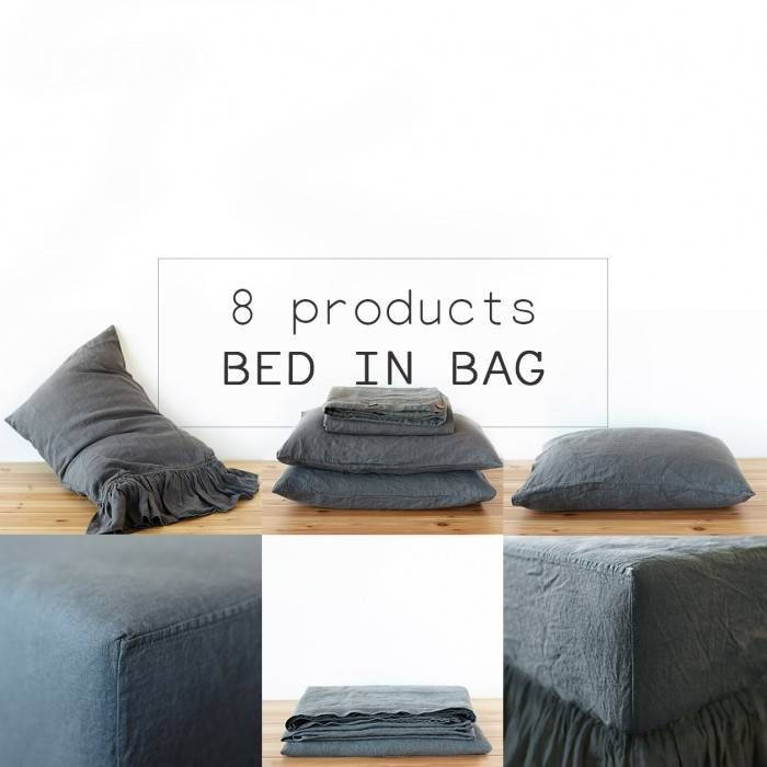 CHARCOAL GRAY Linen bed in bag