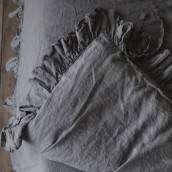 CHARCOAL GRAY Pure Linen duvet cover 3 ruffles