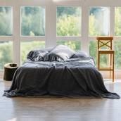 Linen pillow sham with ruffle in beautiful DUSTY BLUE