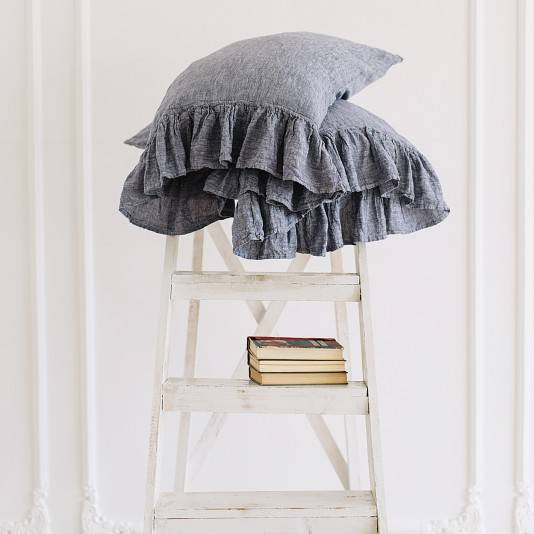DUSTY BLUE Linen pillow sham with ruffle