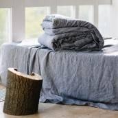 Linen fitted sheet in beautiful DUSTY BLUE