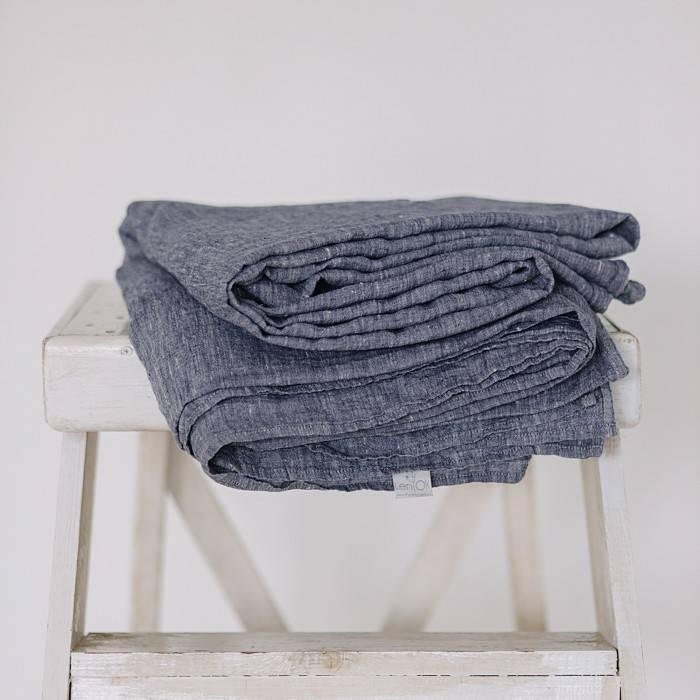 DUSTY BLUE Linen flat sheet