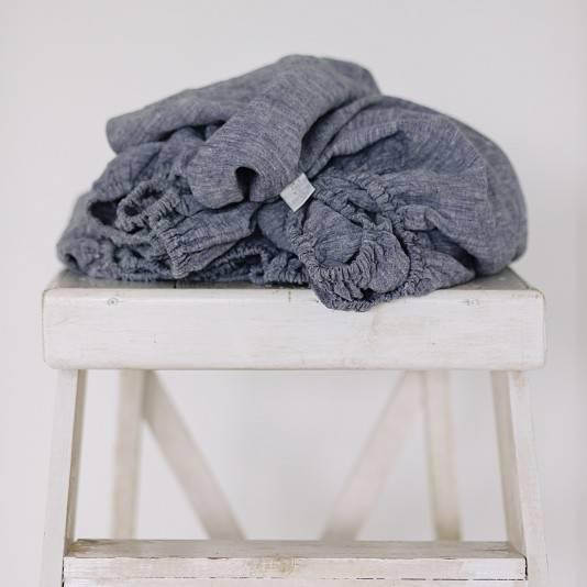 DUSTY BLUE Linen fitted sheet