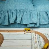 CRYSTAL TEAL 100 Percent Flax Linen pillow sham with ruffle