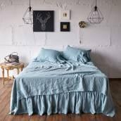 DUCK EGG 100 Percent Flax Linen pillow sham with ruffle