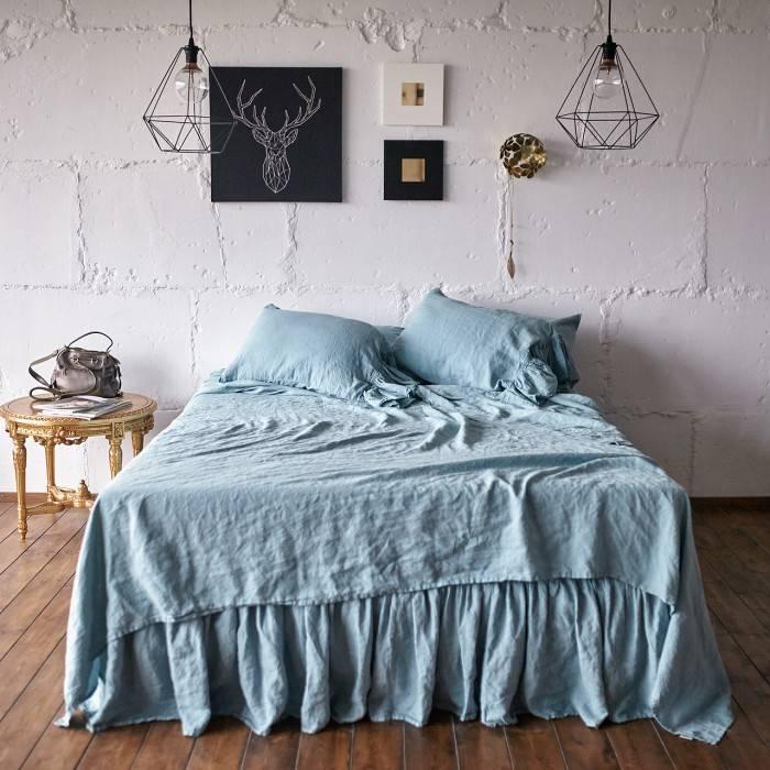 DUCK EGG Linen sheet set with ruffle