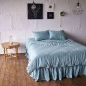 Linen bed skirt in beautiful DUCK EGG