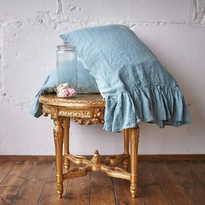 DUCK EGG Linen pillow sham with ruffle