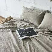 Linen sheet set slip in beautiful FLAX GRAY