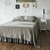 FLAX GRAY 100 Percent Flax Linen flat sheet