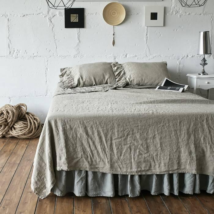 FLAX GRAY Linen sheet set with ruffle