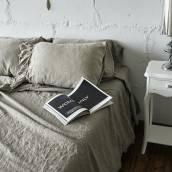 FLAX GRAY 100 Percent Flax Linen sheet set with ruffle