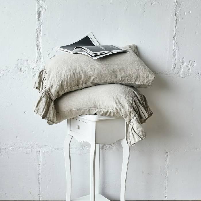 FLAX GRAY Linen pillow sham with ruffle