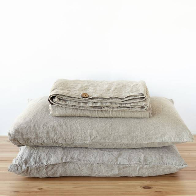 LINEN DUVET COVER button closure