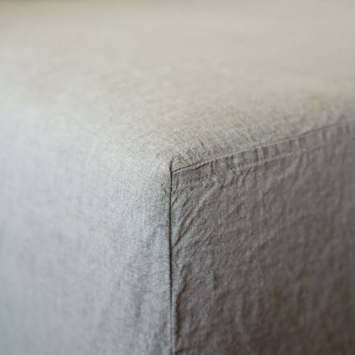 FLAX GRAY Linen fitted sheet
