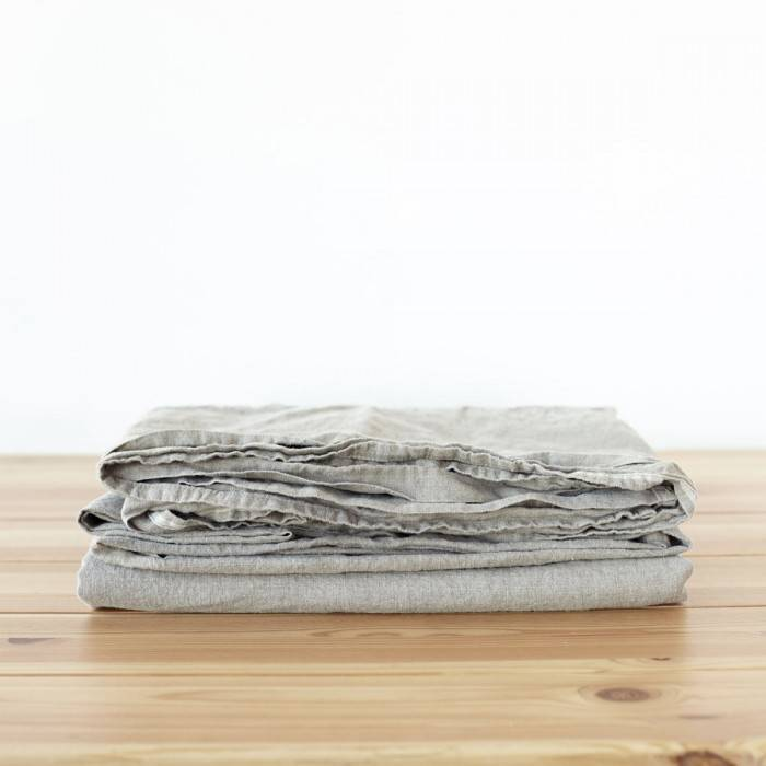 FLAX GRAY Linen flat sheet