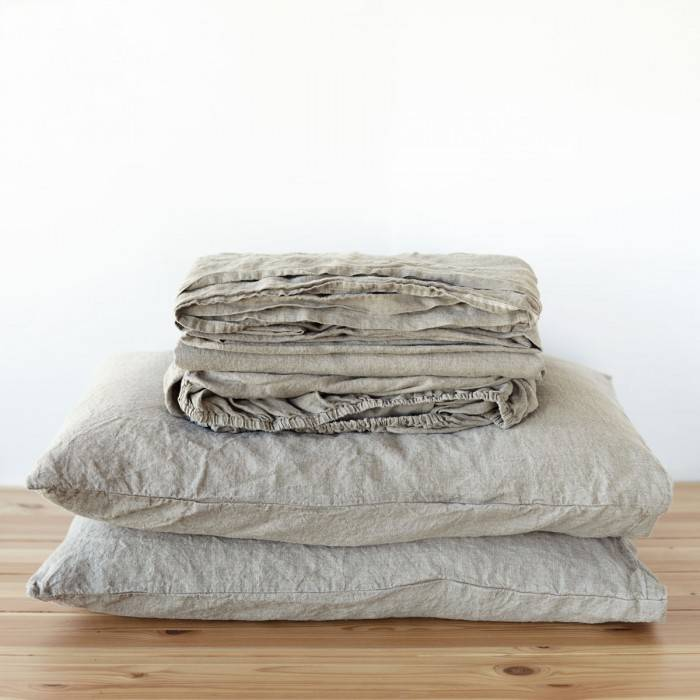 FLAX GRAY Linen sheet set slip