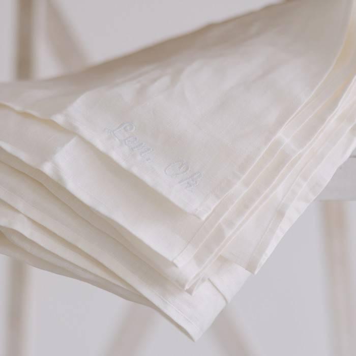 CREAMY WHITE Linen flat sheet