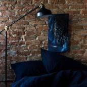 NIGHT BLUE 100 Percent Flax Linen sheet set slip