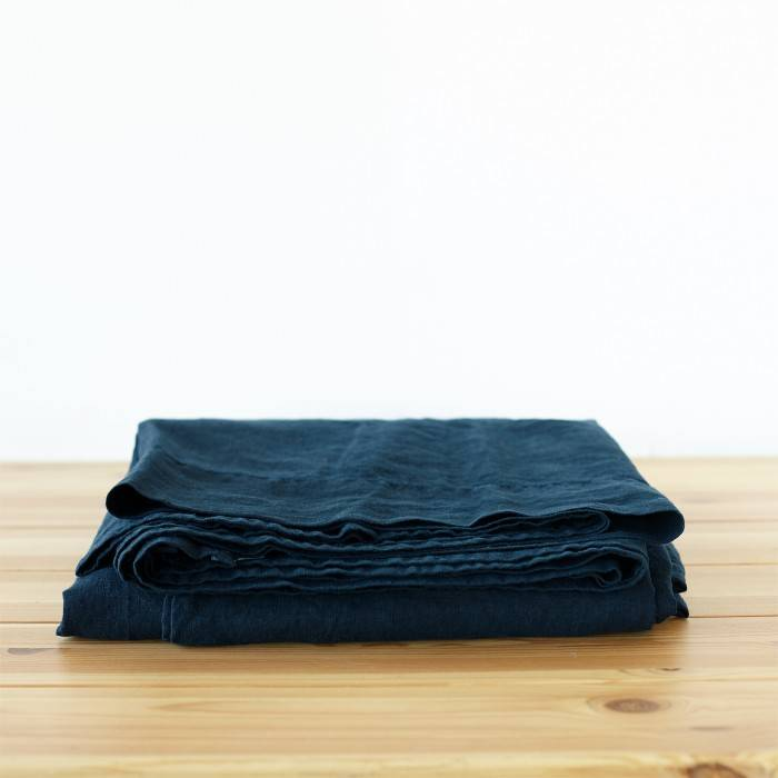 NIGHT BLUE Linen flat sheet