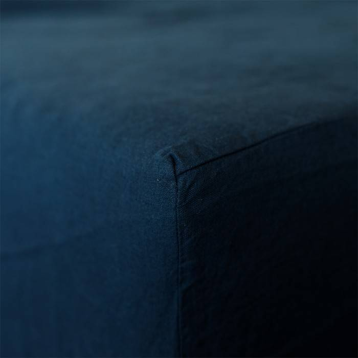 NIGHT BLUE Linen fitted sheet
