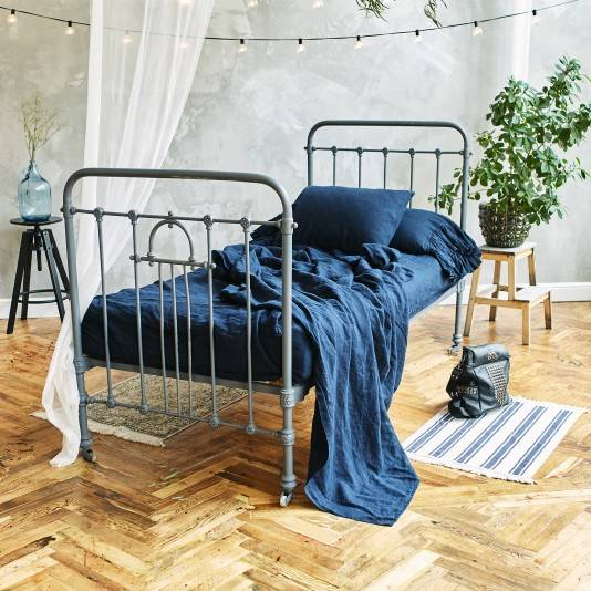 NIGHT BLUE Linen sheet set slip