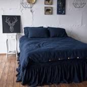 NIGHT BLUE 100 Percent Flax Linen duvet cover