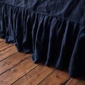NIGHT BLUE Pure Linen bed skirt